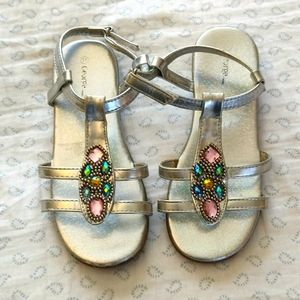 Girls size 11 Silver Sandals with Gemstones